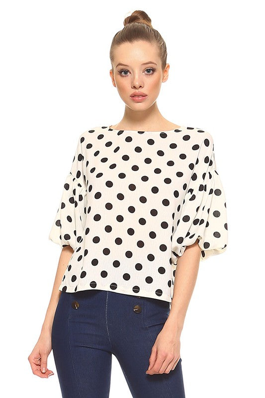 Audrey Puff Sleeve Polka Dot Top - White/Black - Tucker Brown