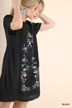 Laura Floral Embroidered Dress - Tucker Brown