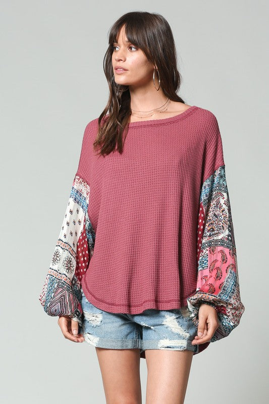 Nobody's Baby Boho Sleeve Top - Tucker Brown