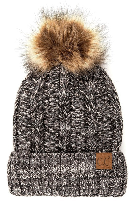 Tweed Fur Beanie - Black/Ivory - Tucker Brown