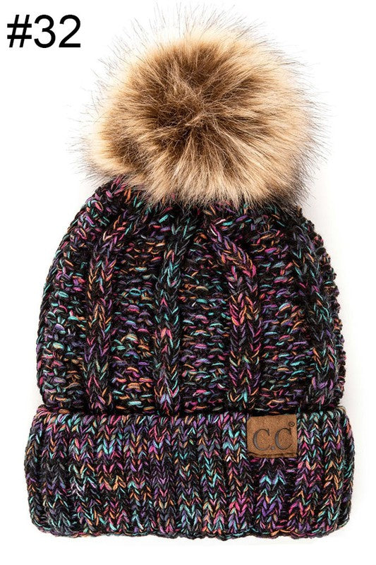 Tweed Fur Beanie - Black/Multi - Tucker Brown