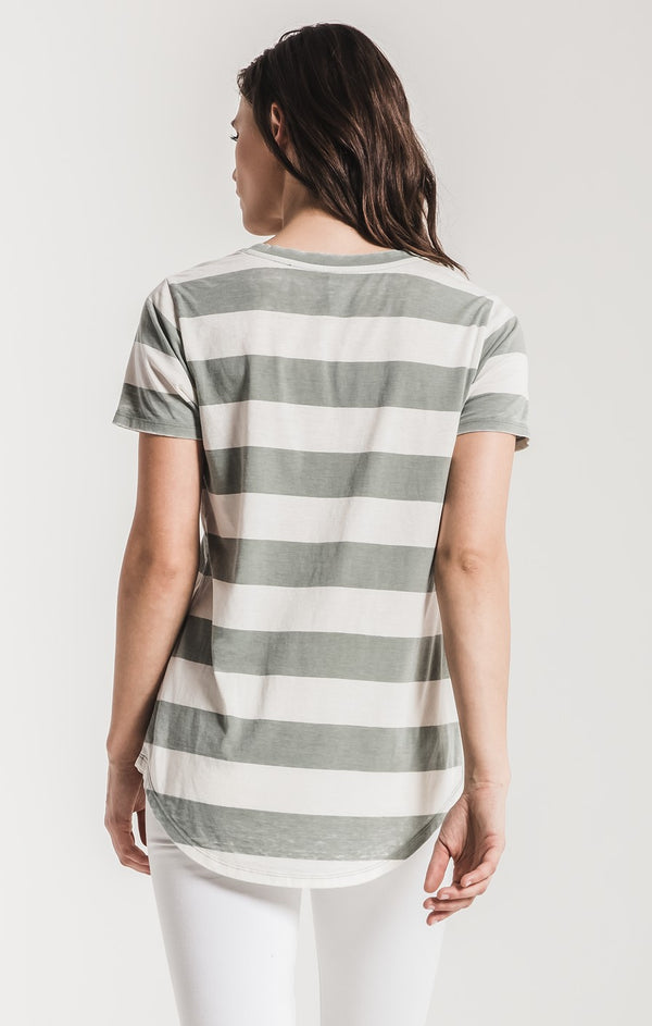Z Supply - Naples Striped Tee - Pale Sage - Tucker Brown