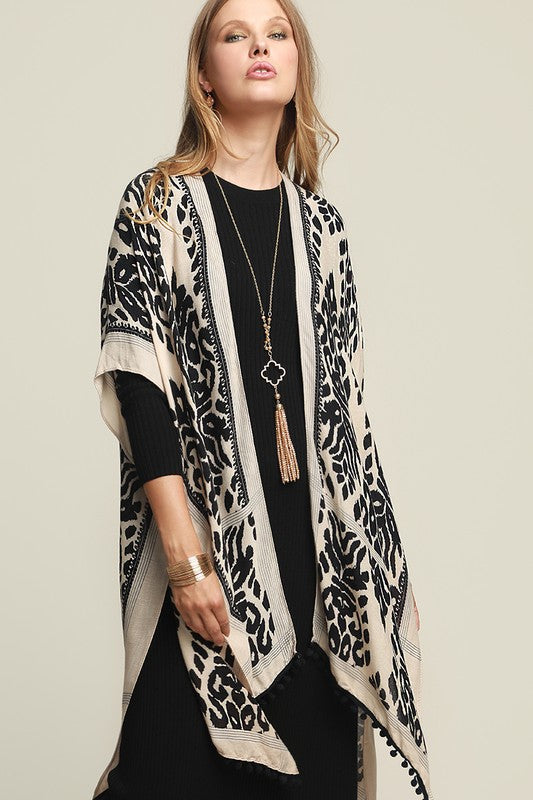 Bahama Leaves Kimono - Black - Tucker Brown