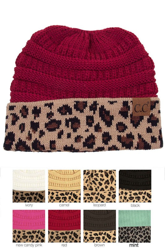 Leopard + Knit Beanie - Burgundy - Tucker Brown