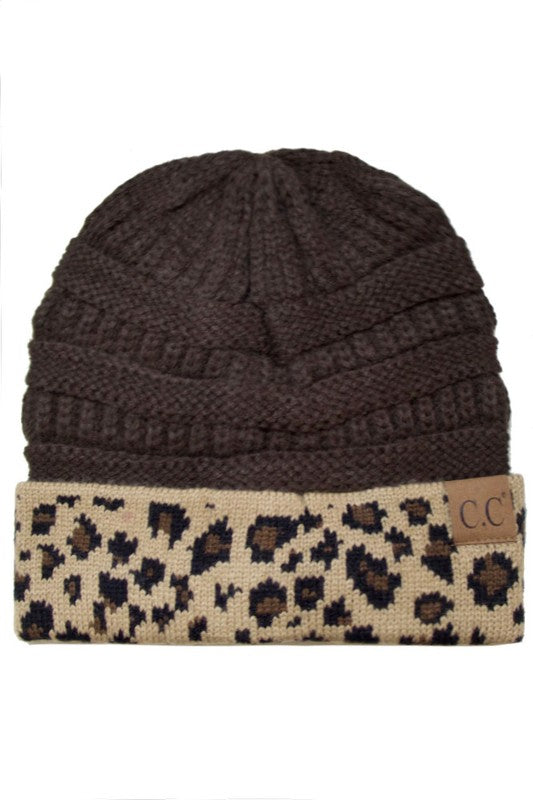 Leopard + Knit Beanie - Brown - Tucker Brown