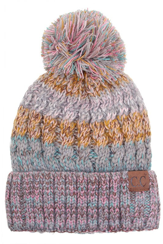 Tweed Pom Pom Beanie - Rose/Mint - Tucker Brown