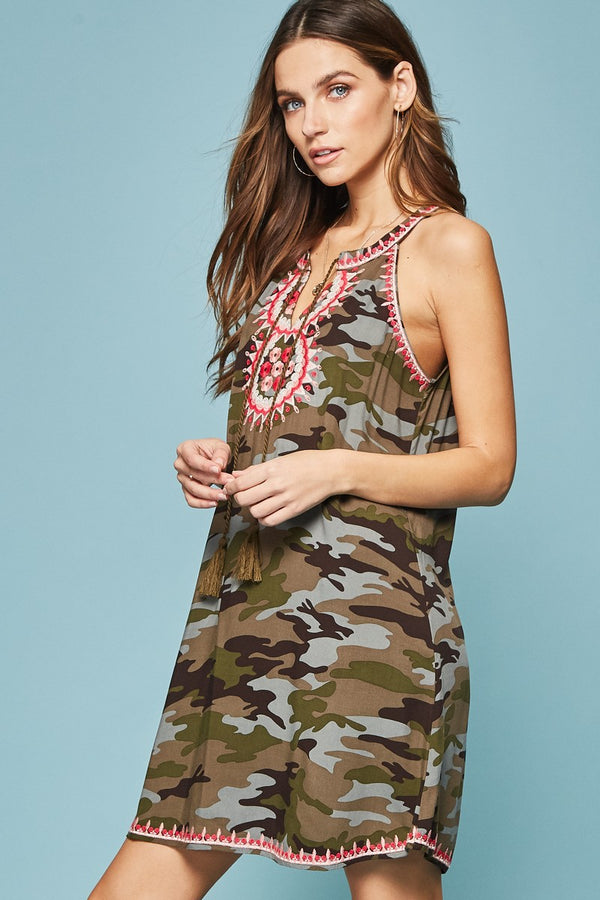 Carousel Camo Dress - Olive - Tucker Brown