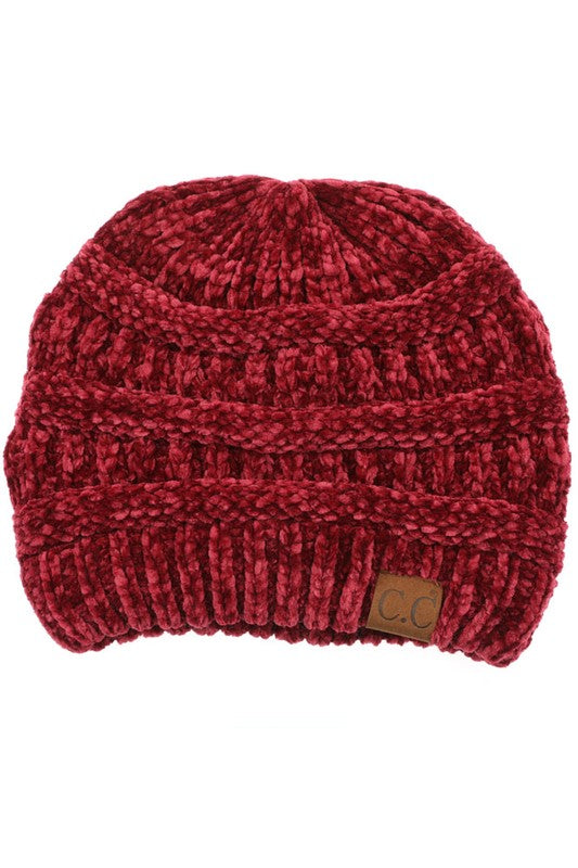 Velvet Chenille Beanie - Burgundy - Tucker Brown