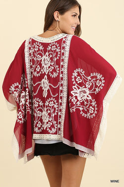 Danielle Embroidered Kimono — Wine - Tucker Brown