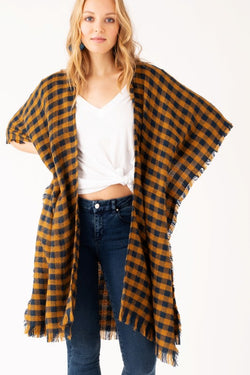 Check Her Out Kimono - Navy/Mustard - Tucker Brown