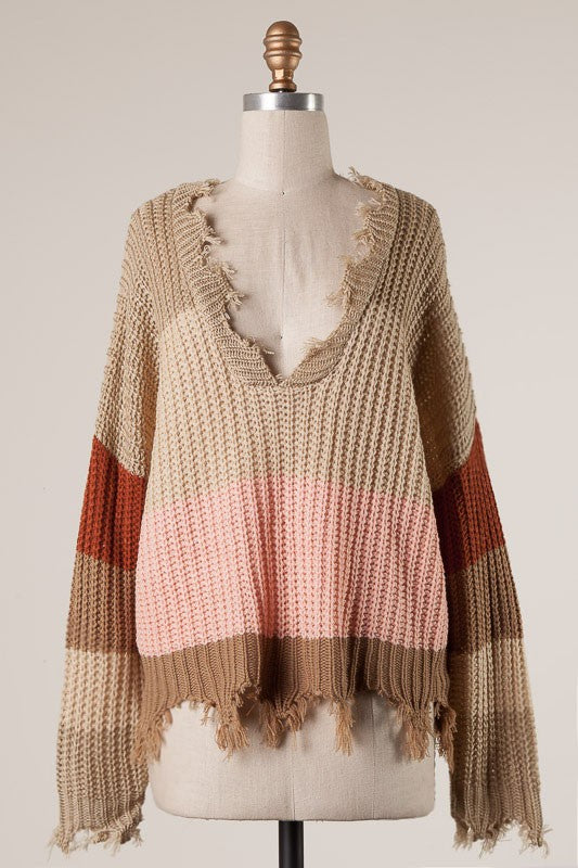 All The Feels Sweater - Taupe/Pink - Tucker Brown