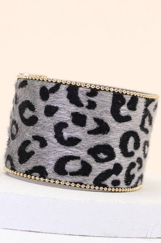 Wide Leopard Bracelet - Tucker Brown
