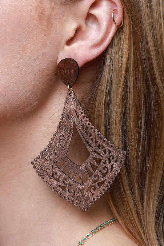 TeePee Wood Earrings - Brown - Tucker Brown