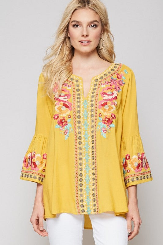 Marigold Embroidered Blouse - Mustard - Tucker Brown