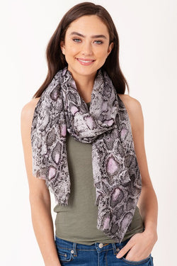 Metallic Python Scarf - Grey - Tucker Brown