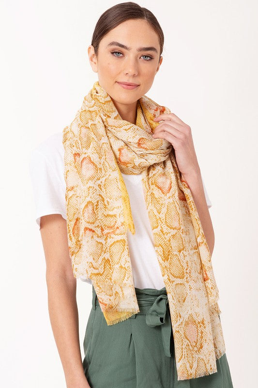 Metallic Python Scarf - Yellow - Tucker Brown