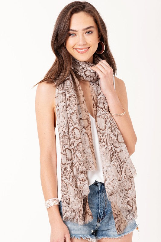 Metallic Python Scarf - Taupe - Tucker Brown
