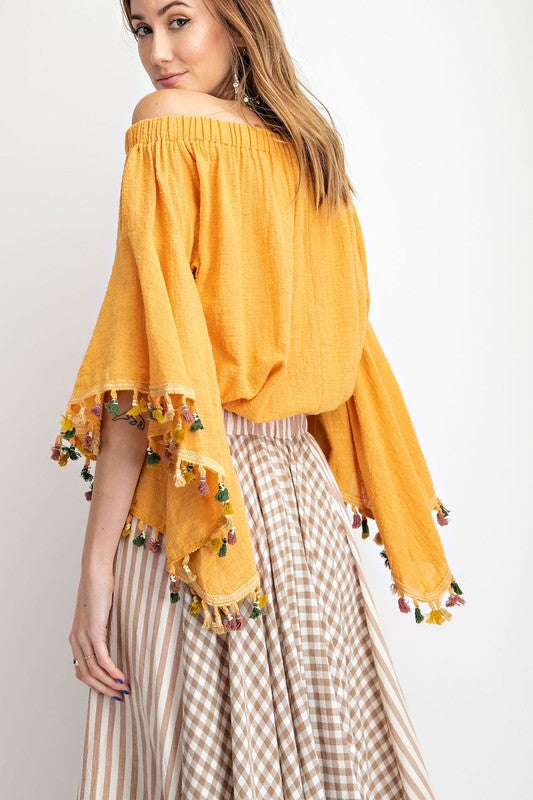 Coachella Off Shoulder Top - Mustard - Tucker Brown