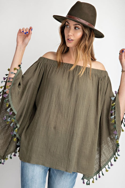 Coachella Off Shoulder Top - Olive - Tucker Brown