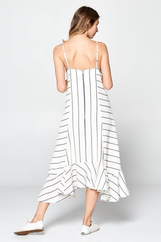 Directions Stripe Dress - White/Navy