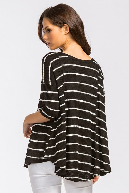 Sweetwater Stripes Top - Black/White - Tucker Brown