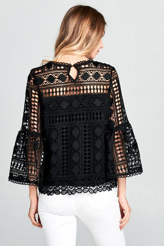 Duchess Crochet Top - Black - Tucker Brown