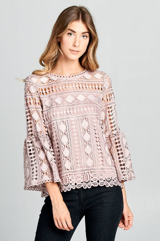 Duchess Crochet Top - Mauve - Tucker Brown