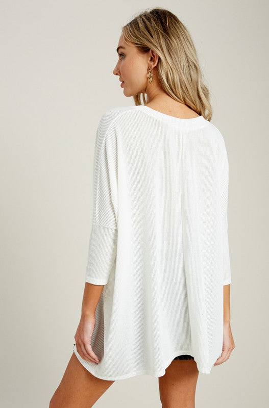 Lyla Poncho Top - White - Tucker Brown