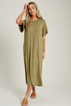 Gemma Midi Tee Dress - Olive - Tucker Brown