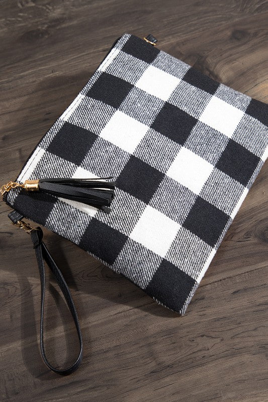 Buffalo Plaid Crossbody - Black/White - Tucker Brown