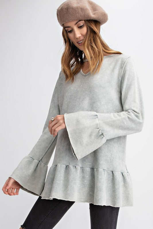Montpelier Ruffle Tunic — Grey - Tucker Brown