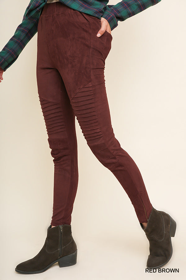 Danny Suede Legging - Red Brown - Tucker Brown
