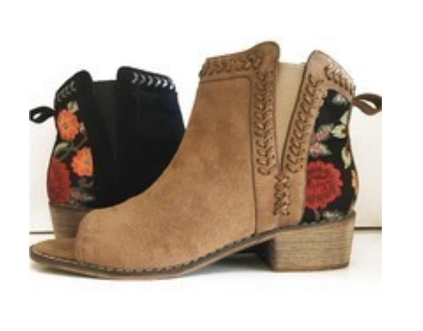 Floral Embroidered Bootie - Tucker Brown