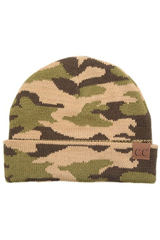 Camo Beanie - Green Camo - Tucker Brown