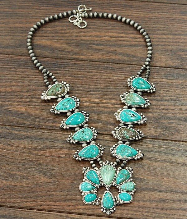 Original Squash Blossom Necklace - Turquoise - Tucker Brown