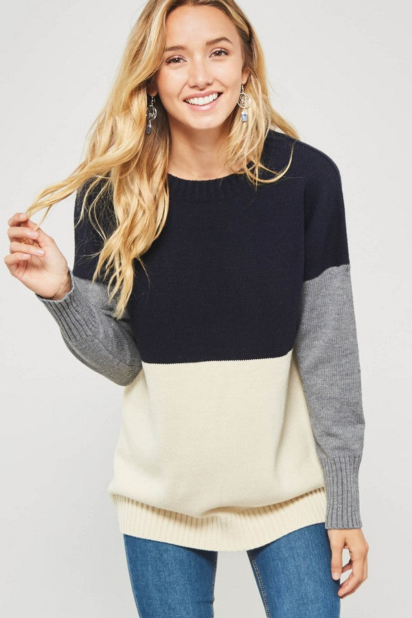 Blocked In Style Sweater - Navy/Ivory/Grey - Tucker Brown