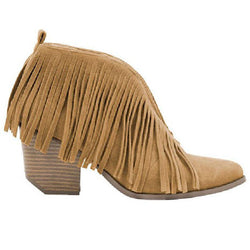 Carrie Fringe Bootie - Camel - Tucker Brown