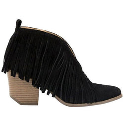 Carrie Fringe Bootie - Black - Tucker Brown