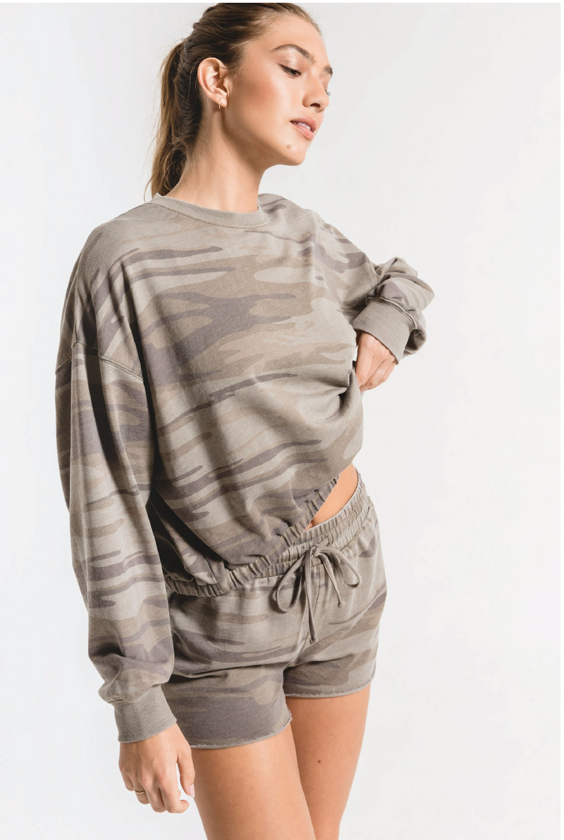 Camo Relaxed Pullover - Olive - Tucker Brown