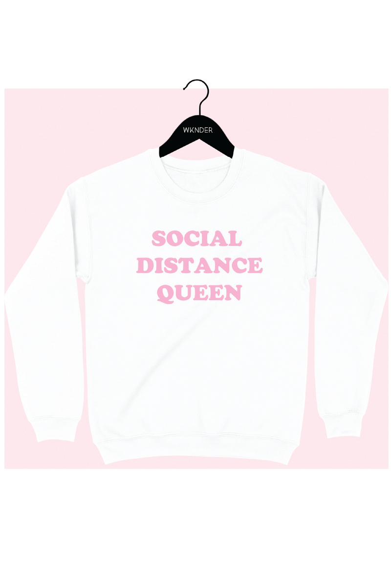 Social Distance Queen Sweatshirt - White - Tucker Brown