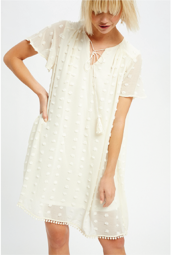 Liberty Textured Dress - Ivory - Tucker Brown