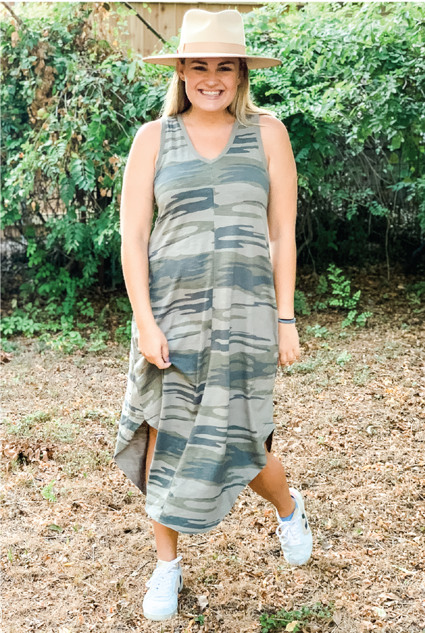 Camo Reverie Dress - Olive - Tucker Brown