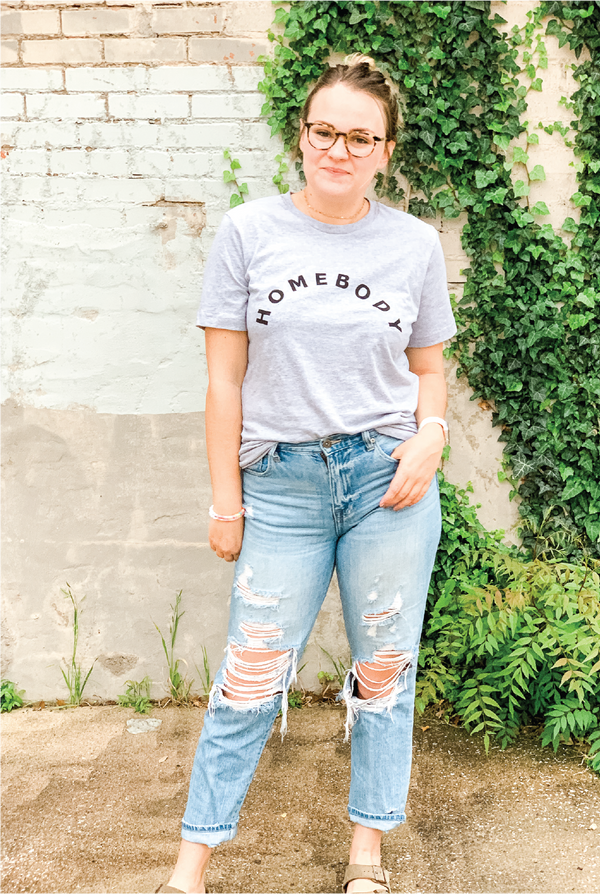 Homebody Tee - Heather Grey - Tucker Brown