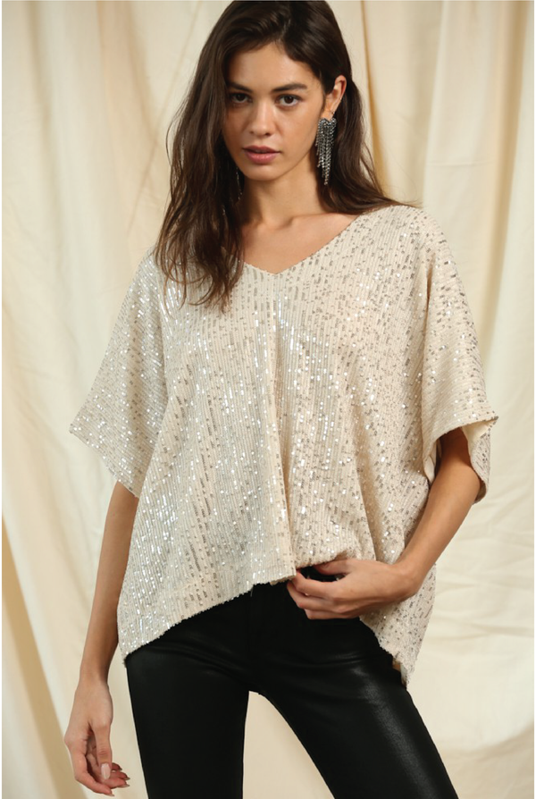 Shimmy Shake Sparkle Top - Tucker Brown