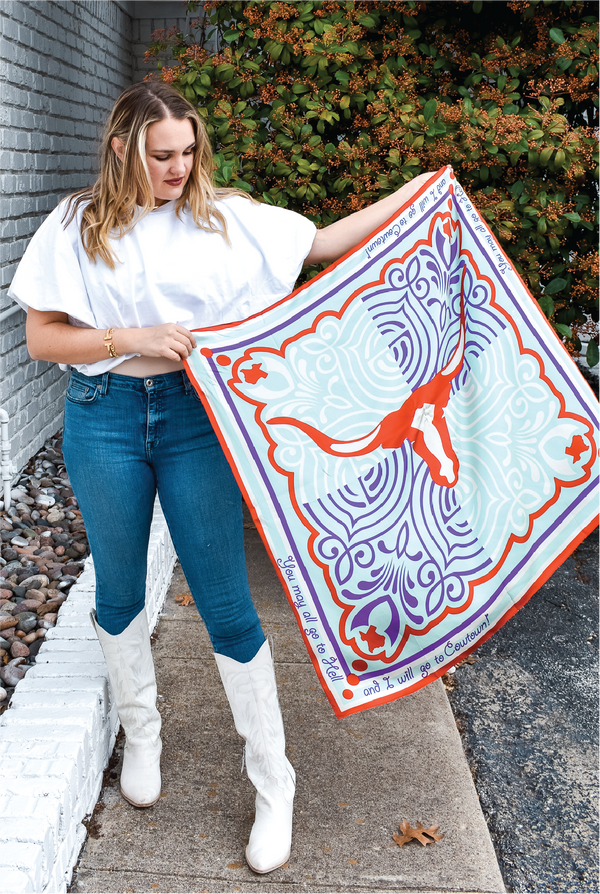 The Cowtown Experience Silk Scarf - Tucker Brown