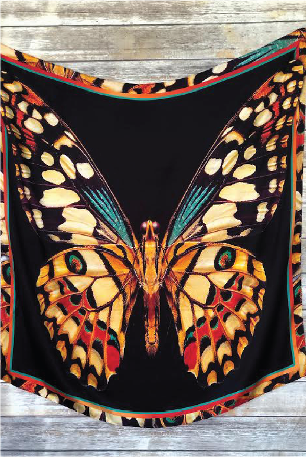 Mariposa Silk Scarf - Tucker Brown