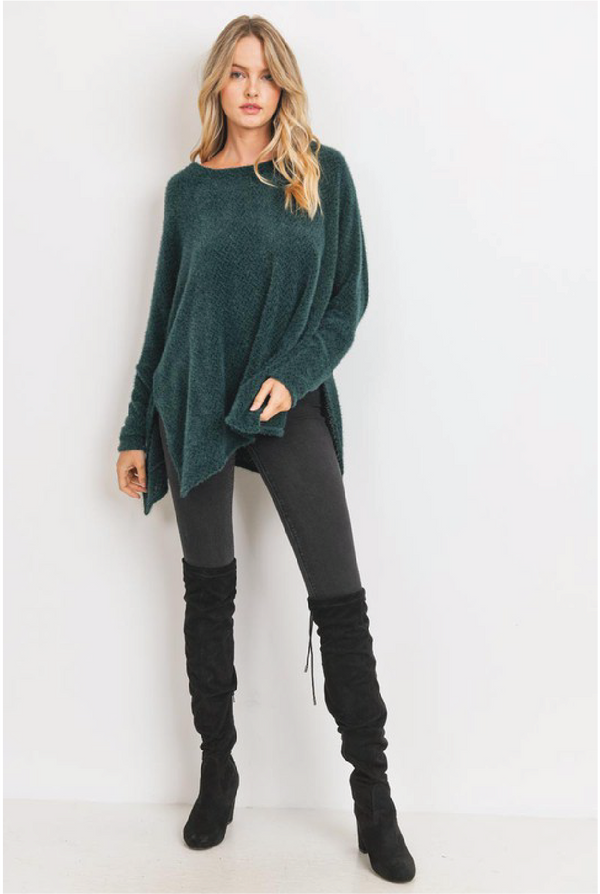 Brushed Eyelash Oversized Top - Forest Green - Tucker Brown