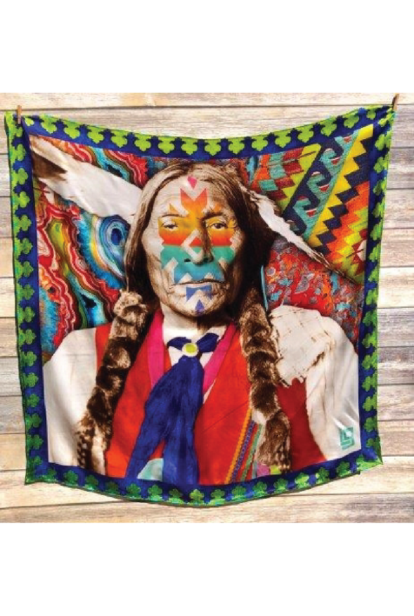 "Two Feathers In The Wind Silk Scarf - 42"" - Tucker Brown"