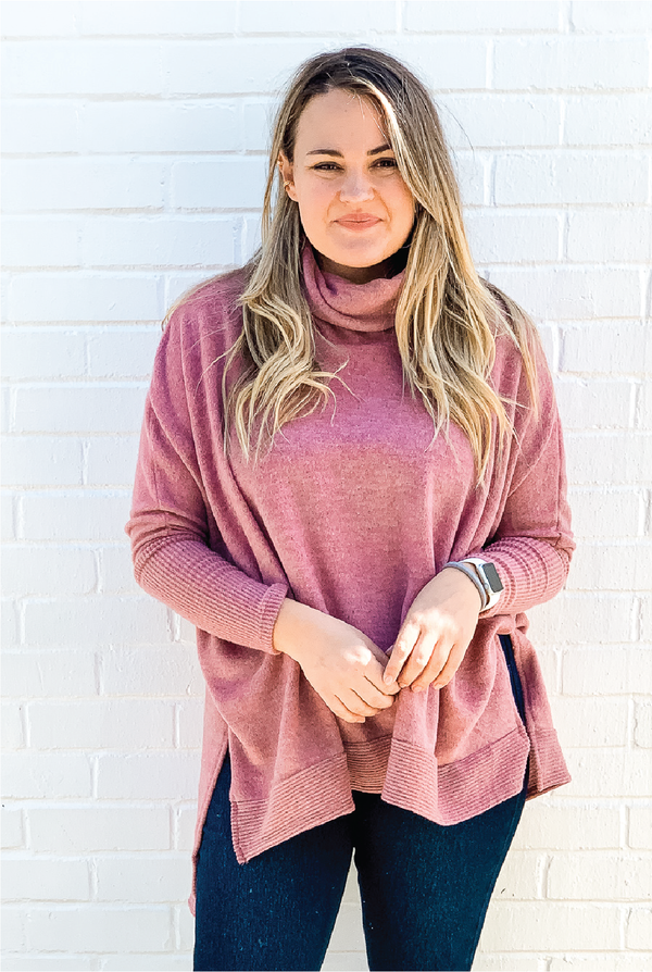 Cuffing Season Cowl Neck Top - Rose