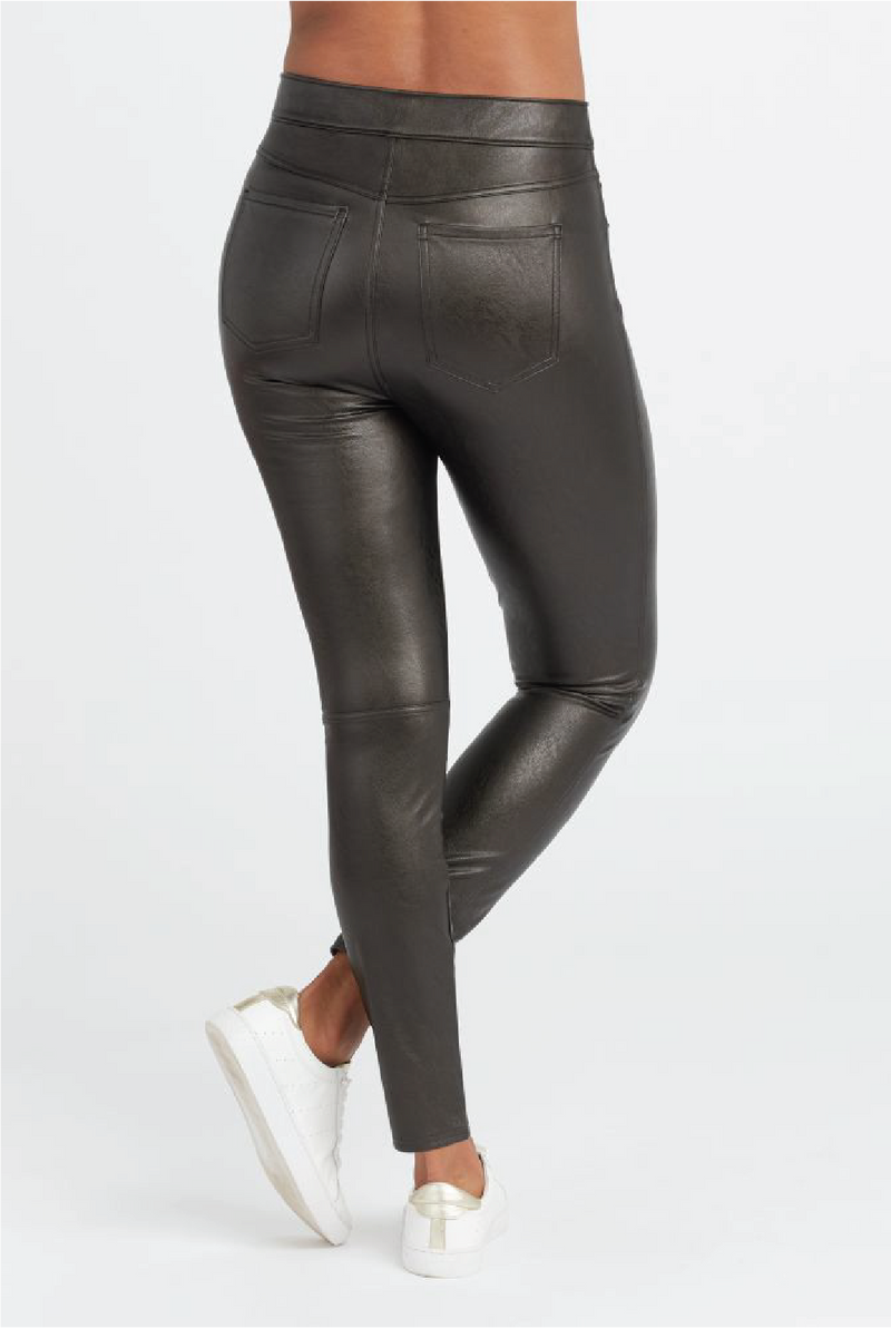Leather-Like Ankle Skinny Pant - Tucker Brown